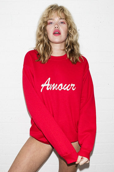 Double Trouble 'Amour' Embroidered Jumper – Red - THENINETYNINE
