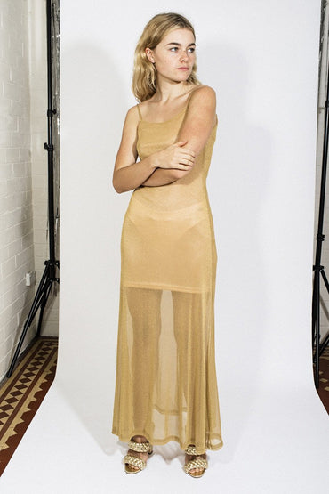 LENNI 'Bendita' Dress - Lurex Gold - THENINETYNINE