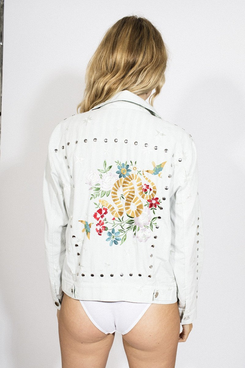LENNI 'Zero' Jacket – Embroidered Bleach Wash Denim