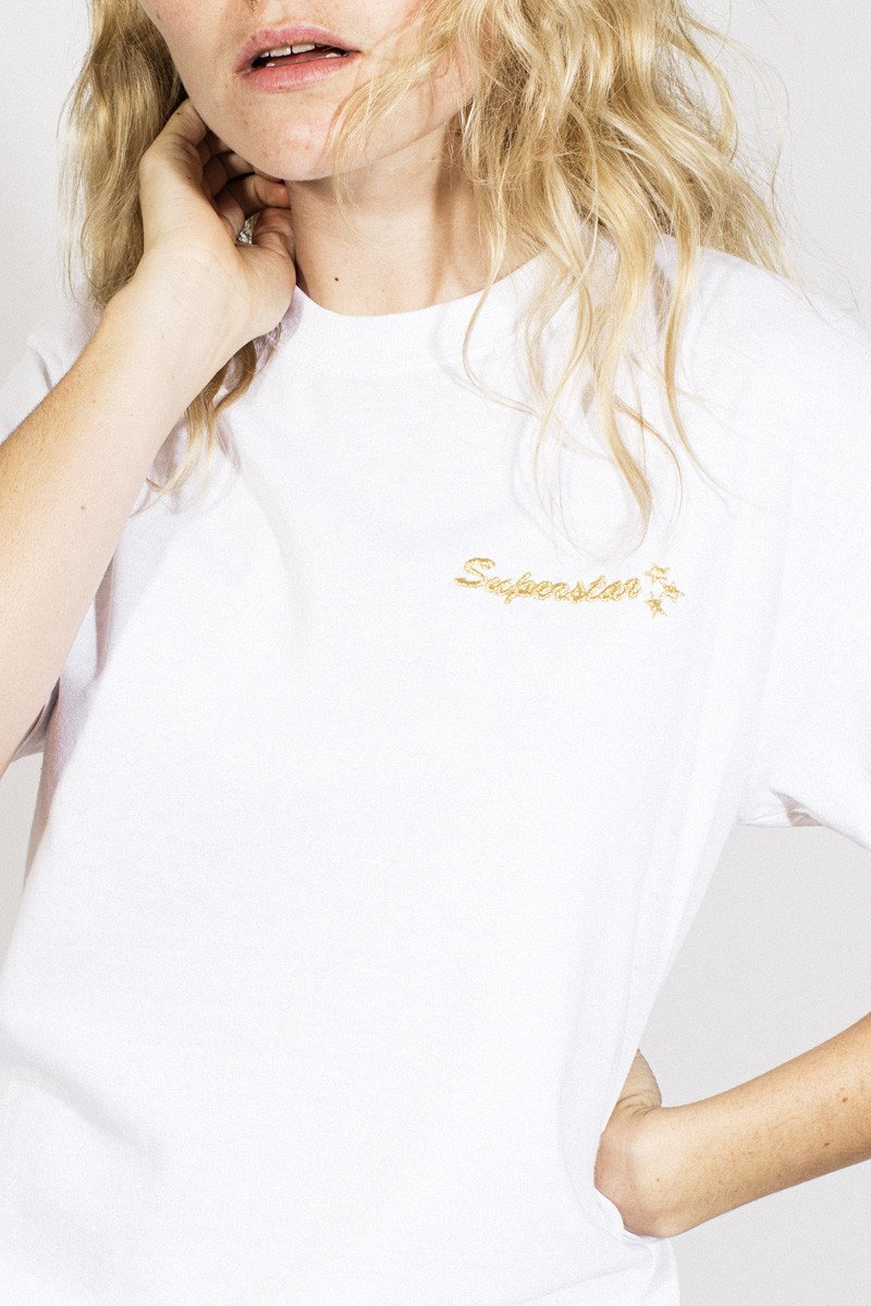 Double Trouble 'Superstar' Embroidered T-shirt – White