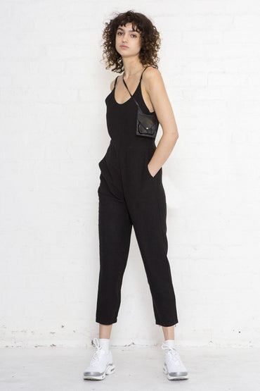 NEUW 'Jackson' Linen Jumpsuit – Midnight Black - THENINETYNINE