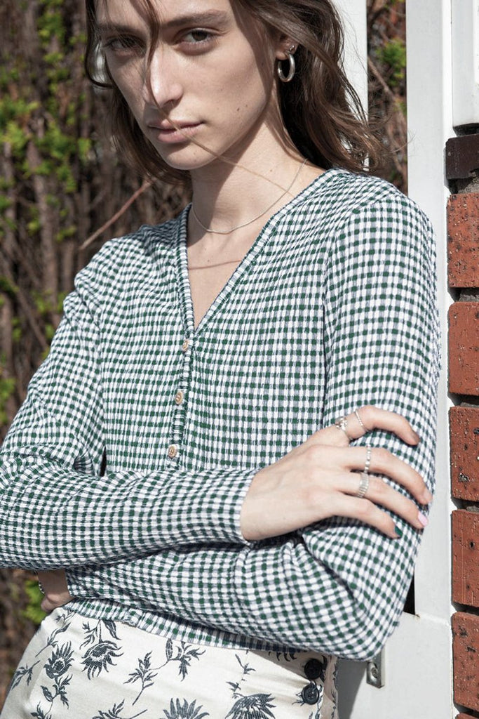 PERMANENT VACATION Tenderness Cardigan – Pine Green Gingham | THENINETYNINE Online Store