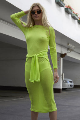 PERMANENT VACATION Sheer Knit Dress – Neon Yellow