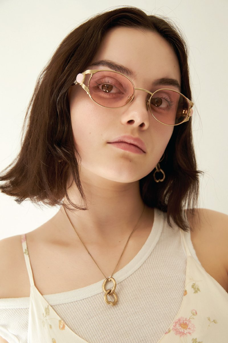 POMS 'Oro' Sunglasses – Pink with Rose Quartz - THENINETYNINE