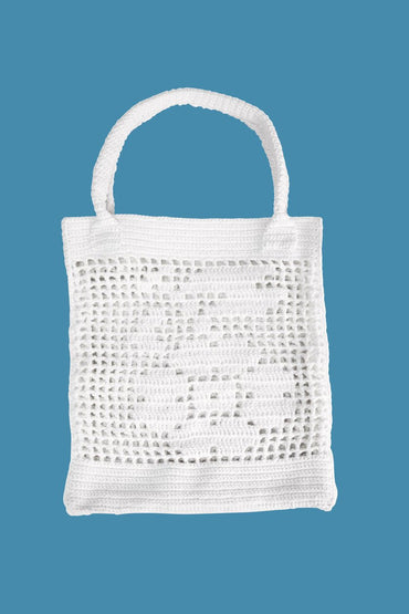 POMS Cotton Floral Tote Bag – White - THENINETYNINE