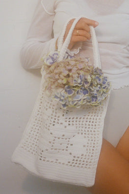 PRE-ORDER | POMS Cotton Floral Tote Bag – White
