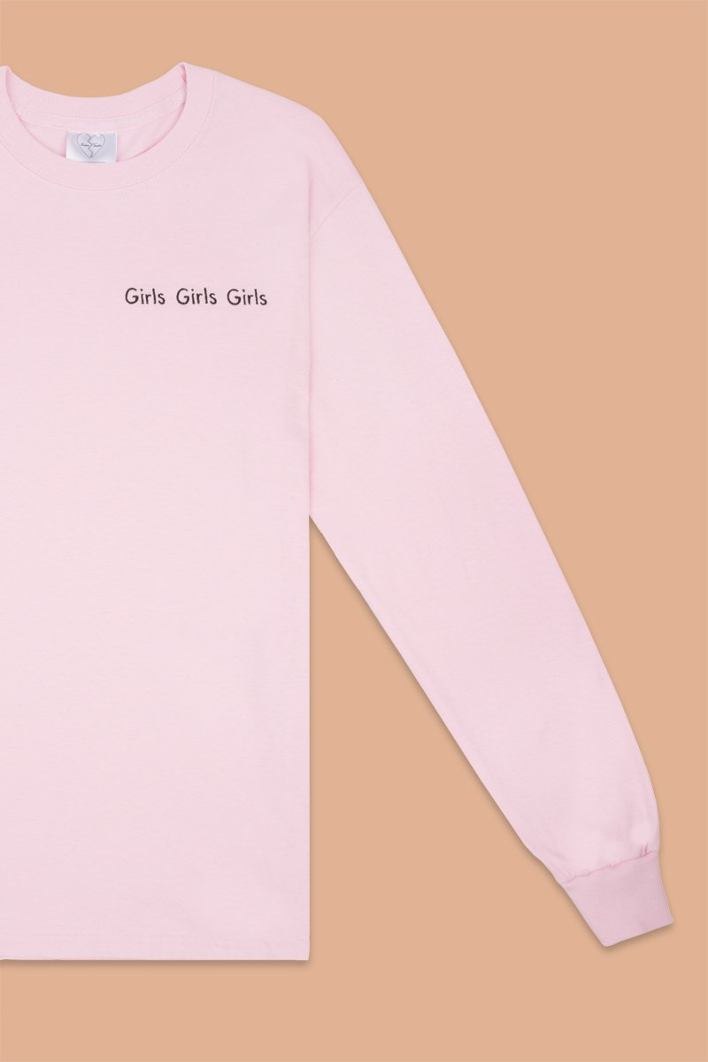 Double Trouble Gang 'Girls Girls Girls' Embroidered Long-Sleeve Top - THENINETYNINE