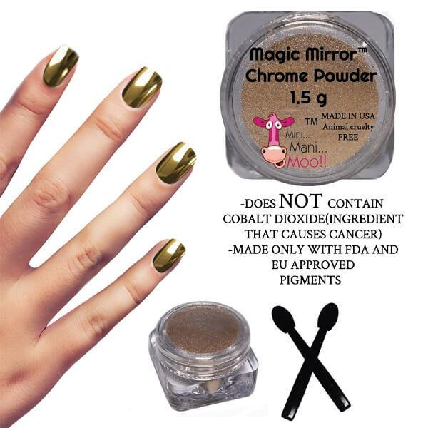 Magic Mirror Chrome Powder Gold  - mini mani moo - nail art