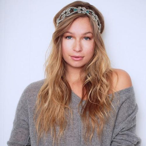 Tassel Hollywood Headband Pewter Blue