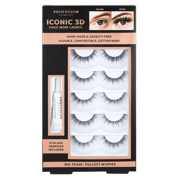 Profusion Cosmetics Iconic 3D Faux Mink Lash Set With Adhesive - Fullest Wispies
