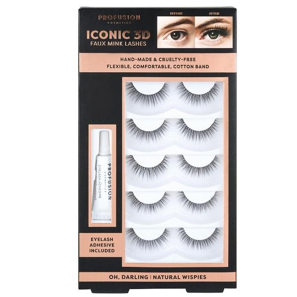 Profusion Cosmetics Iconic 3D Faux Mink Lash Set With Adhesive - Natural Wispies