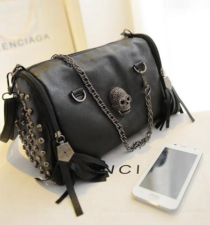 Bikers - ★ Skull ★ Women Handbag With Chain