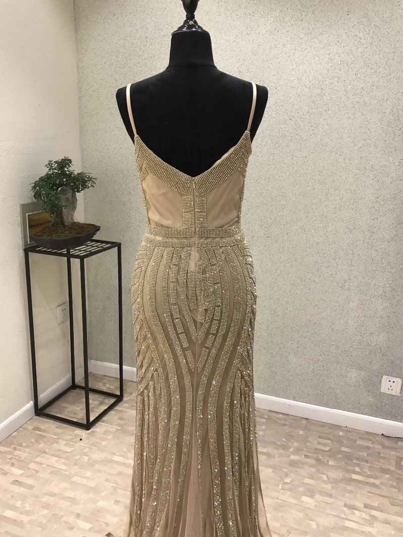 mermaid evening dresses long Party Champagne Crystal african Formal ...