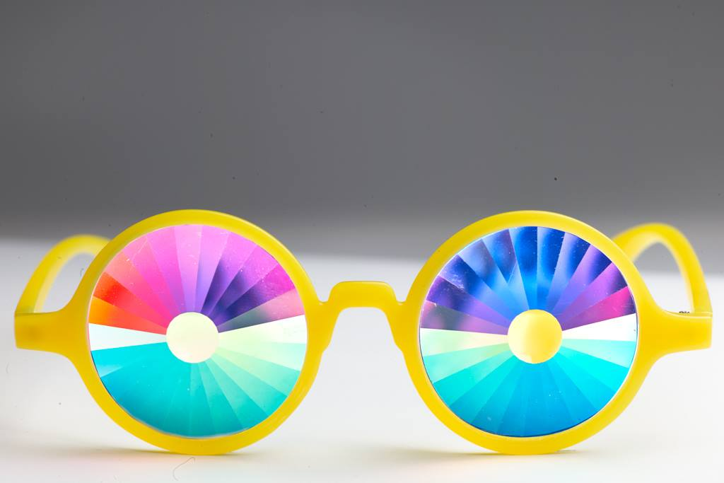 Glow Yellow Portal Kaleidoscope Glasses