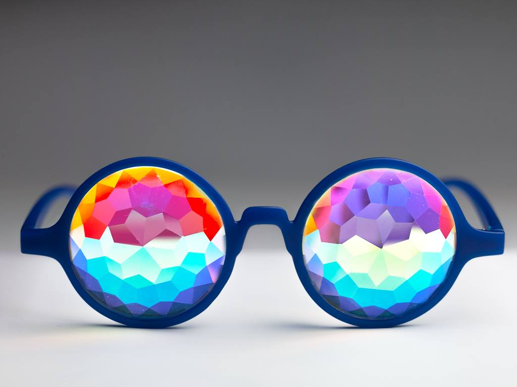 Intense Diamond Kaleidoscope Effect rainbow crystal lens Sunglasses Women Men Party Festival Blue Marble Round Glasses at SuperFried's Festival Accessories and Sunglasses Online store