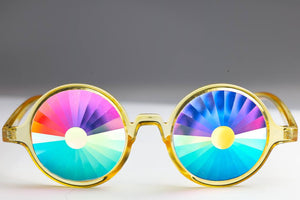 Intense Diamond Kaleidoscope Effect rainbow crystal lens Sunglasses Women Men Party Festival Bug Eye Portal Glow Yellow Glasses at SuperFried's Festival Accessories and Sunglasses Online store