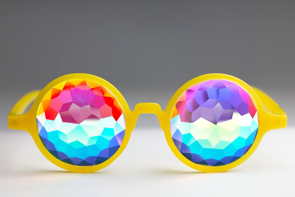 Intense Diamond Kaleidoscope Effect rainbow crystal lens Sunglasses Women Men Party Festival Bug Eye Portal Bamboo Round Glasses at SuperFried's Festival Accessories and Sunglasses Online store