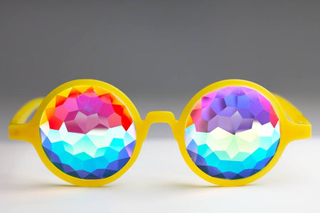 Glow Yellow Kaleidoscope Glasses