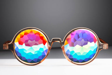 Transparent Orange Kaleidoscope Glasses