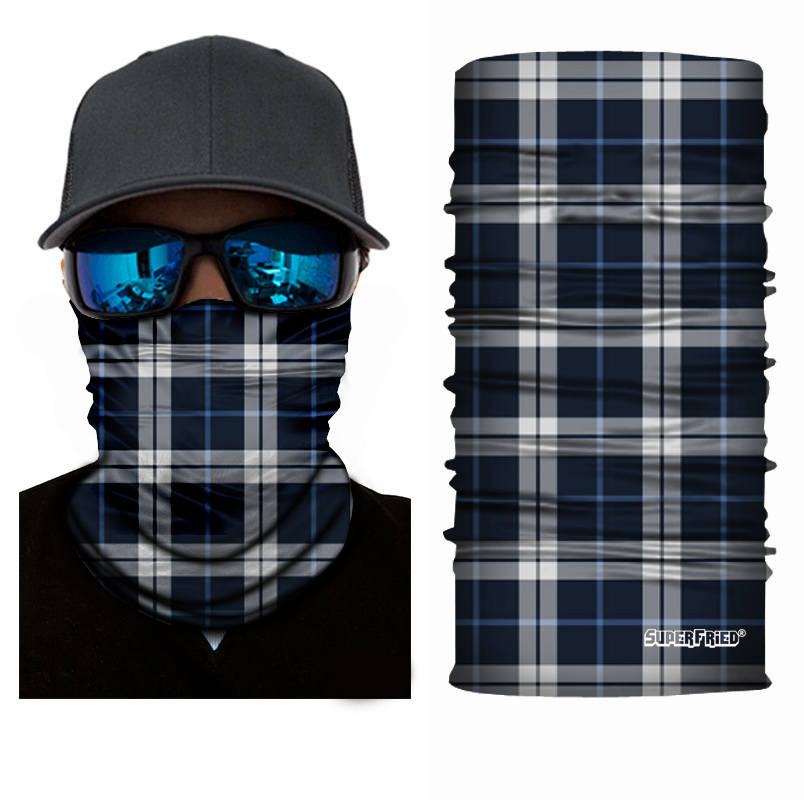 Blue Plaid Seamless Mask Bandana