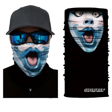 blue mime comical french face mask bandanna