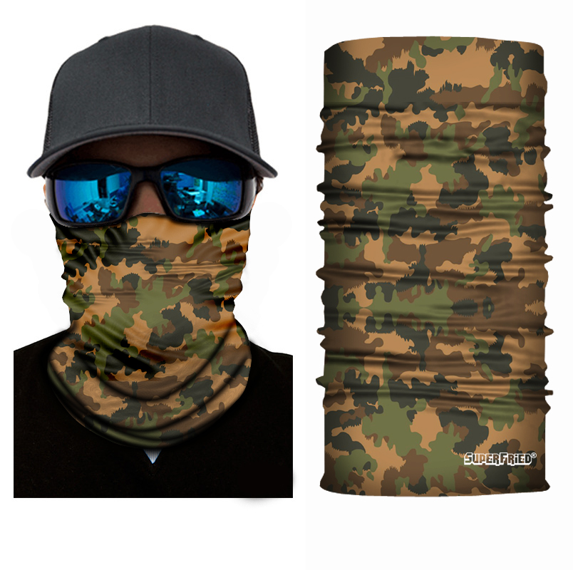 Brown Camo Leaf Seamless Mask Bandana