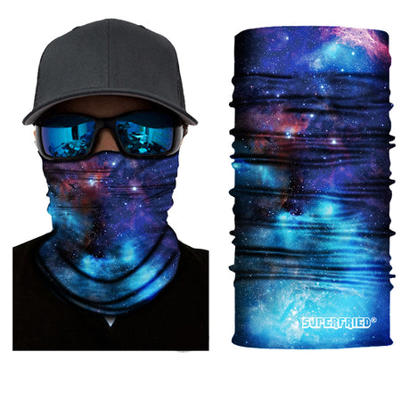 Cerulean blue galaxy face mask bandana