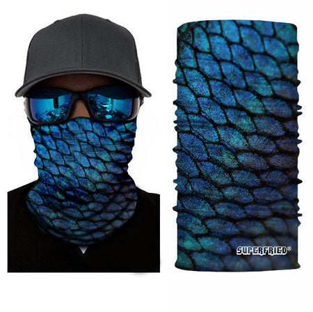 fish scale blue animal face mask bandana