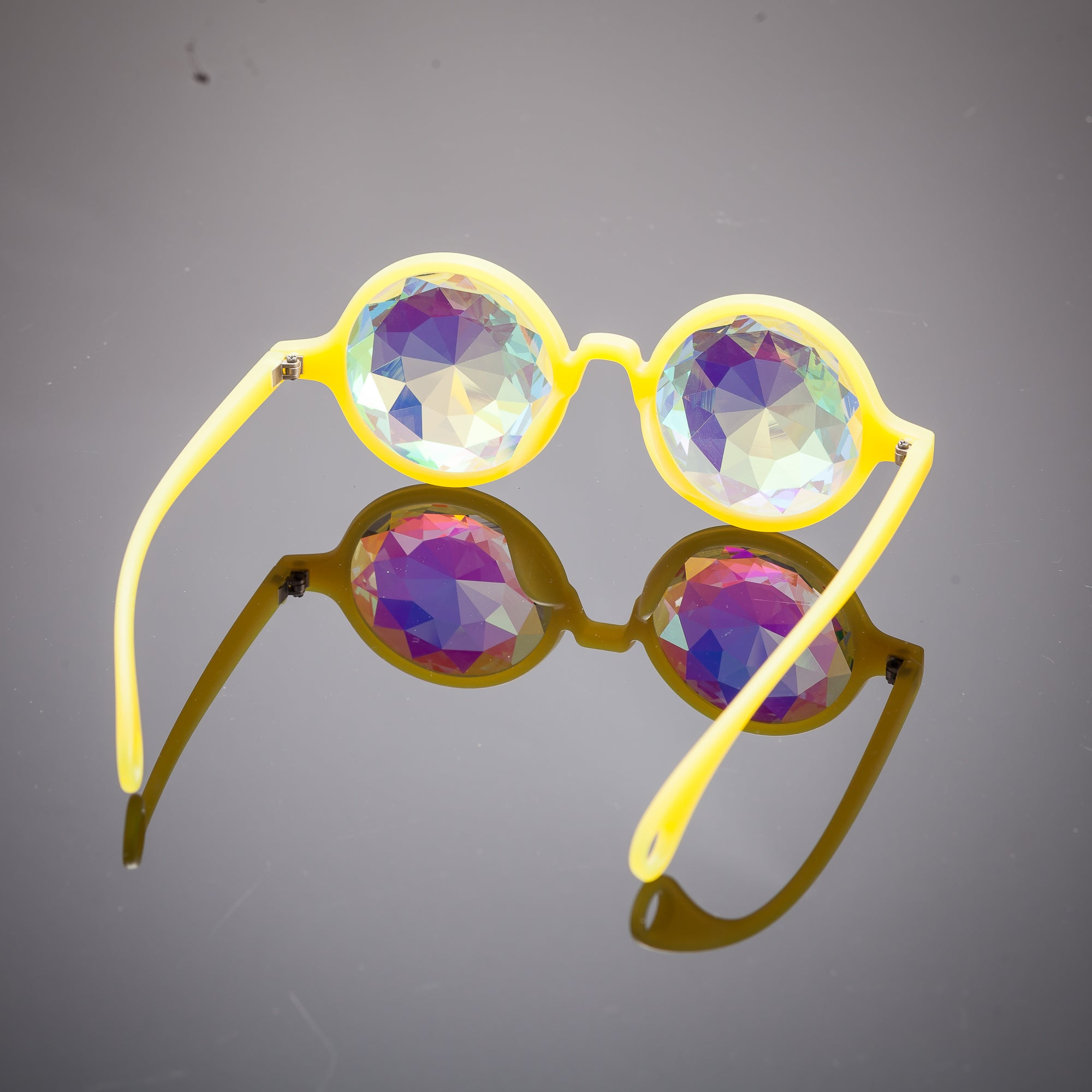 Glow Yellow Diamond Kaleidoscope Glasses - SuperFried