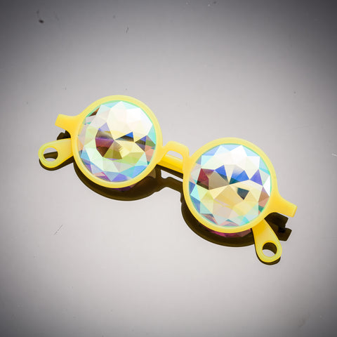 glow yellow diamond kaleidoscope glasses party eyewear intense visuals psychedelics