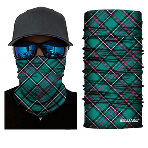 Green Plaid Seamless Mask Bandana