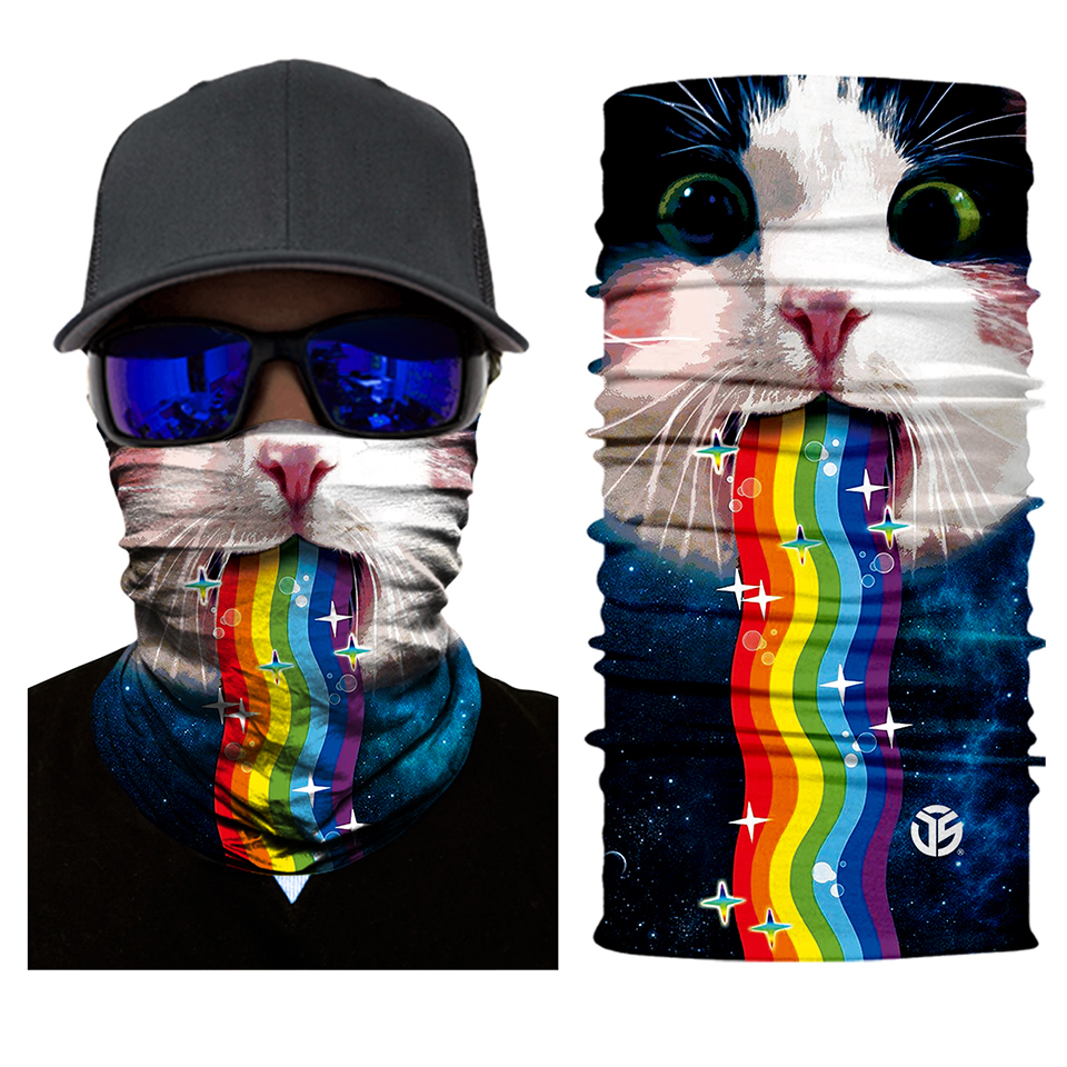 Rainbow Kitty Rave Seamless Mask Bandana