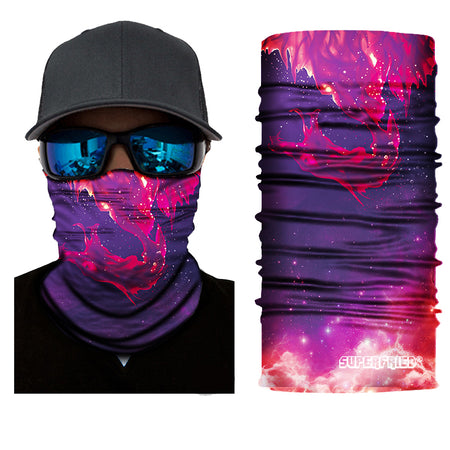 inferno flaming red purple dragon face mask bandana