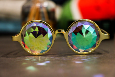 Gold Diamond Kaleidoscope Glasses