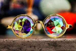 Intense Diamond Kaleidoscope Effect rainbow crystal lens Sunglasses Women Men Party Festival Limited Edition Gold Frame Round Glasses at SuperFried's Festival Accessories and Sunglasses Online store