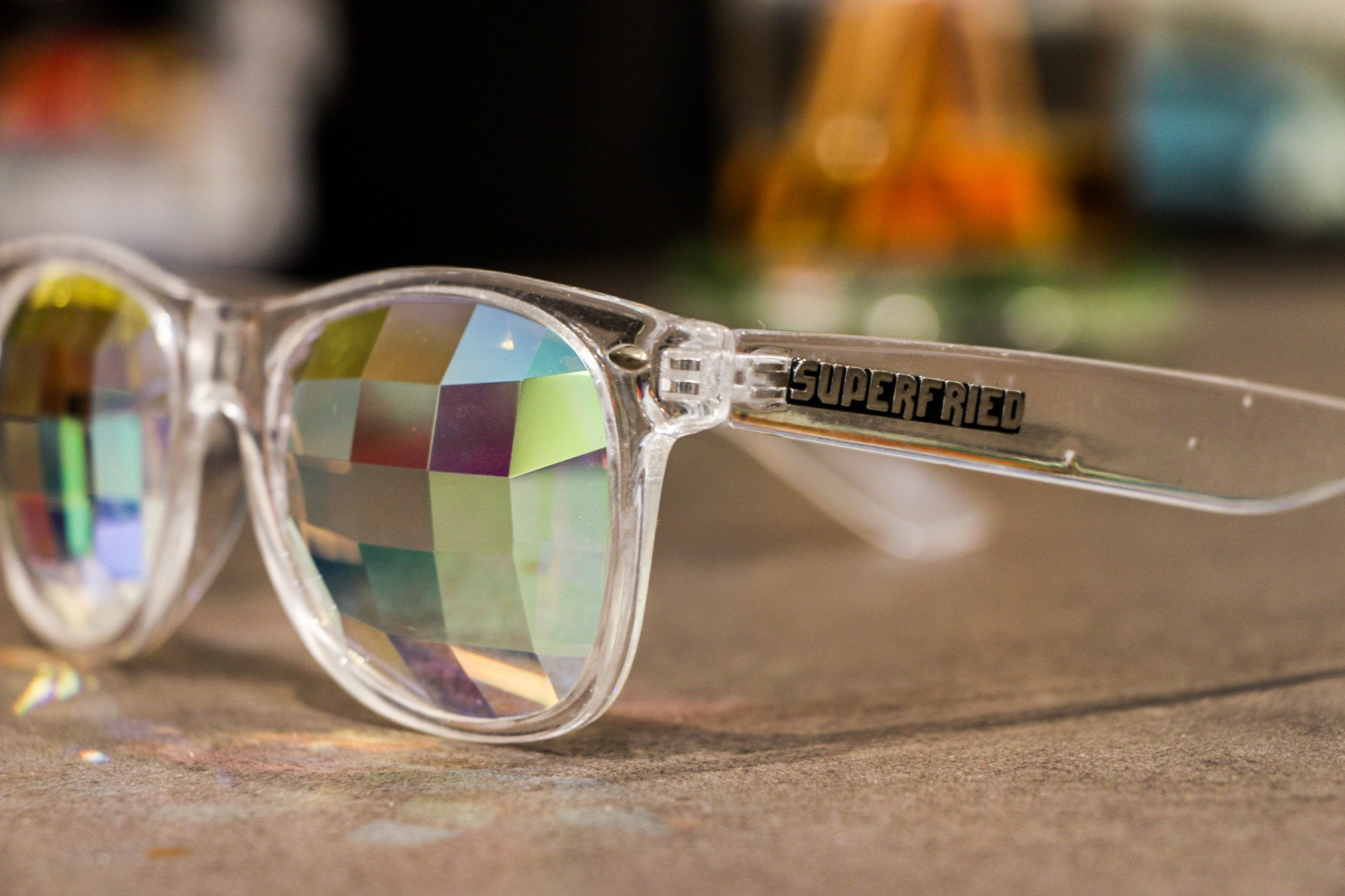 Clear Pixel Helvetica Kaleidoscope Glasses - SuperFried