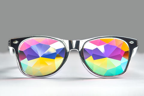 Silver Helvetica Kaleidoscope Glasses - LIMITED EDITION