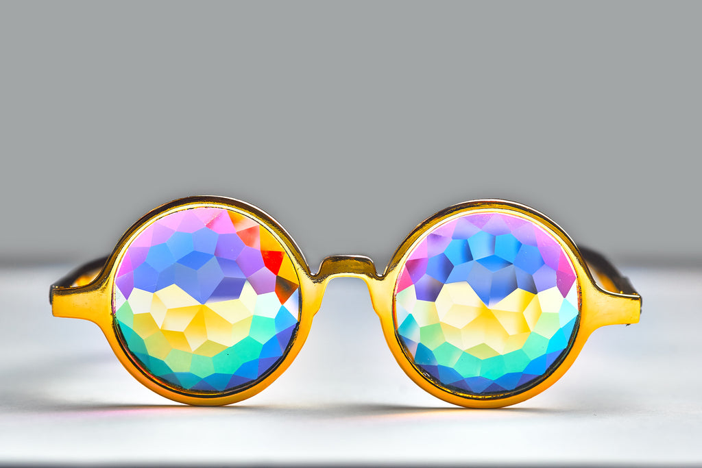 Gold Kaleidoscope Glasses - SuperFried