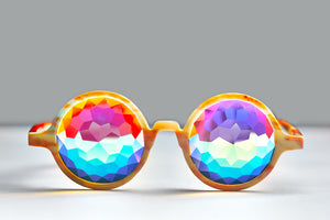 Intense Diamond Kaleidoscope Effect rainbow crystal lens Sunglasses Women Men Party Festival Orange Marble Round Glasses at SuperFried's Festival Accessories and Sunglasses Online store