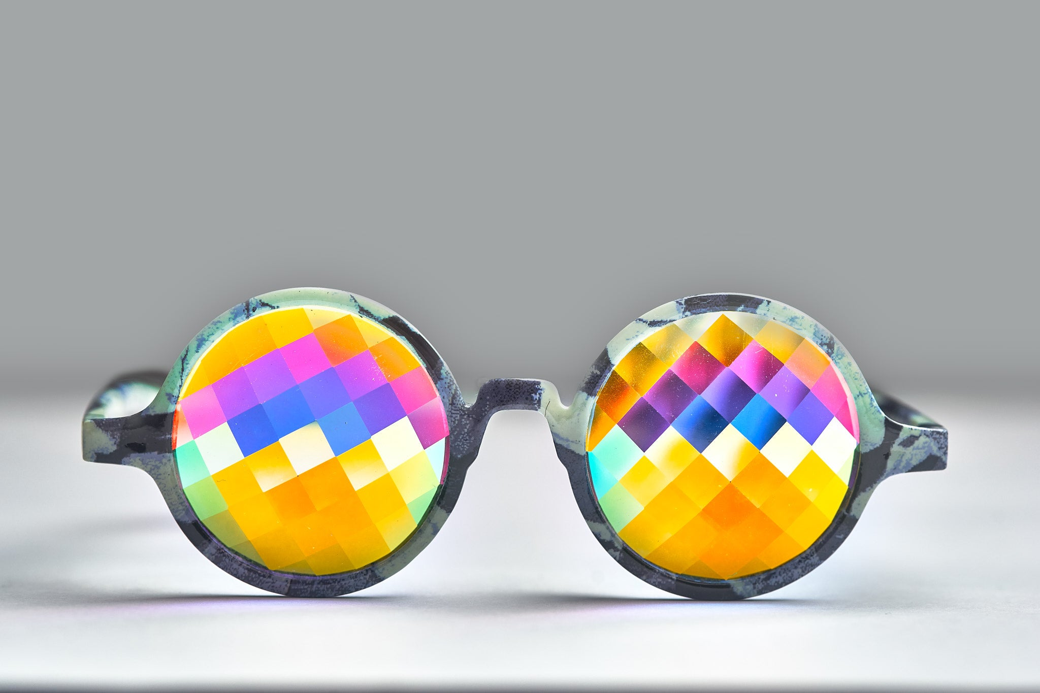 Intense Diamond Kaleidoscope Effect rainbow crystal lens Sunglasses Women Men Party Festival Glow Bug Eye Poral Marble  Helvetica Glasses at SuperFried's Festival Accessories and Sunglasses Online store