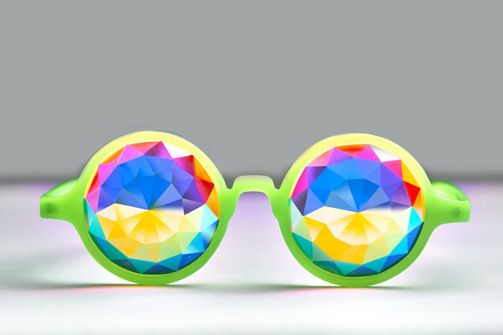 Intense Diamond Kaleidoscope Effect rainbow crystal lens Sunglasses Women Men Party Festival Pinhole Portal  Green Glow Glasses at SuperFried's Festival Accessories and Sunglasses Online store