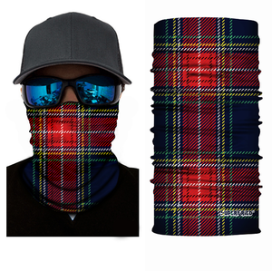 Red Plaid Seamless Mask Bandana