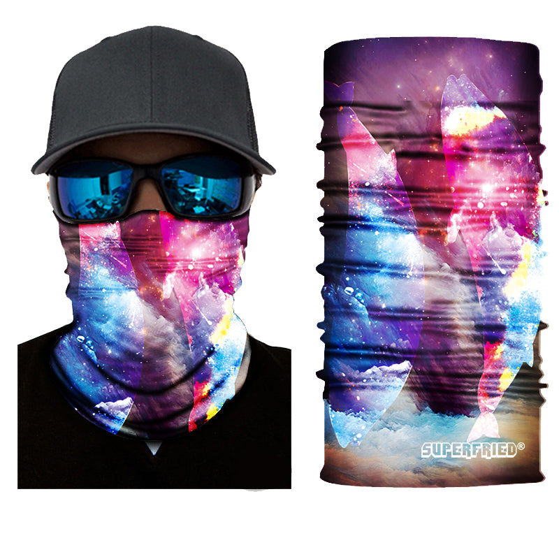 space dolphins galaxy colourful face mask bandana