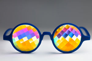 Intense Diamond Kaleidoscope Effect rainbow crystal lens Sunglasses Women Men Party Festival Bug Eye Portal Glow Blue Glasses at SuperFried's Festival Accessories and Sunglasses Online store