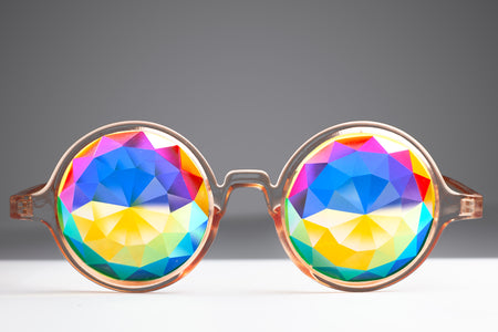 Transparent Orange Diamond Kaleidoscope Glasses