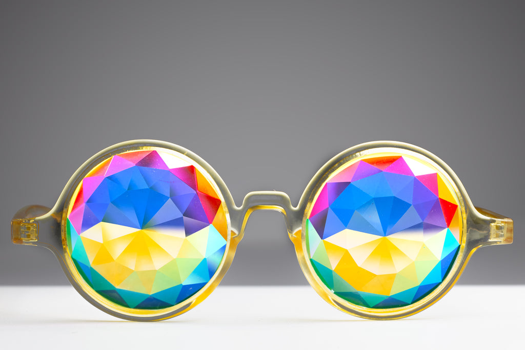 Transparent Yellow Diamond Kaleidoscope Glasses