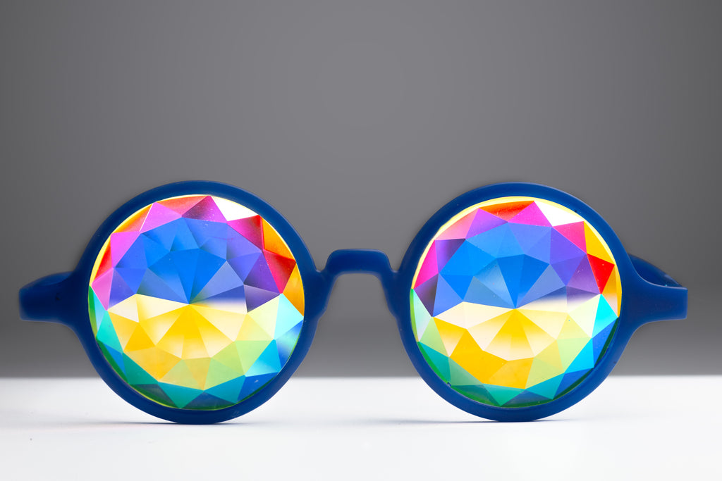 Intense Diamond Kaleidoscope Effect rainbow crystal lens Sunglasses Women Men Party Festival Pinhole Portal  Blue Glow Glasses at SuperFried's Festival Accessories and Sunglasses Online store