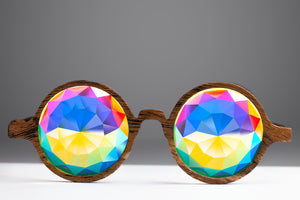 Intense Diamond Kaleidoscope Effect rainbow crystal lens Sunglasses Women Men Party Festival Bug Eye Portal Glow Green Round Glasses at SuperFried's Festival Accessories and Sunglasses Online store
