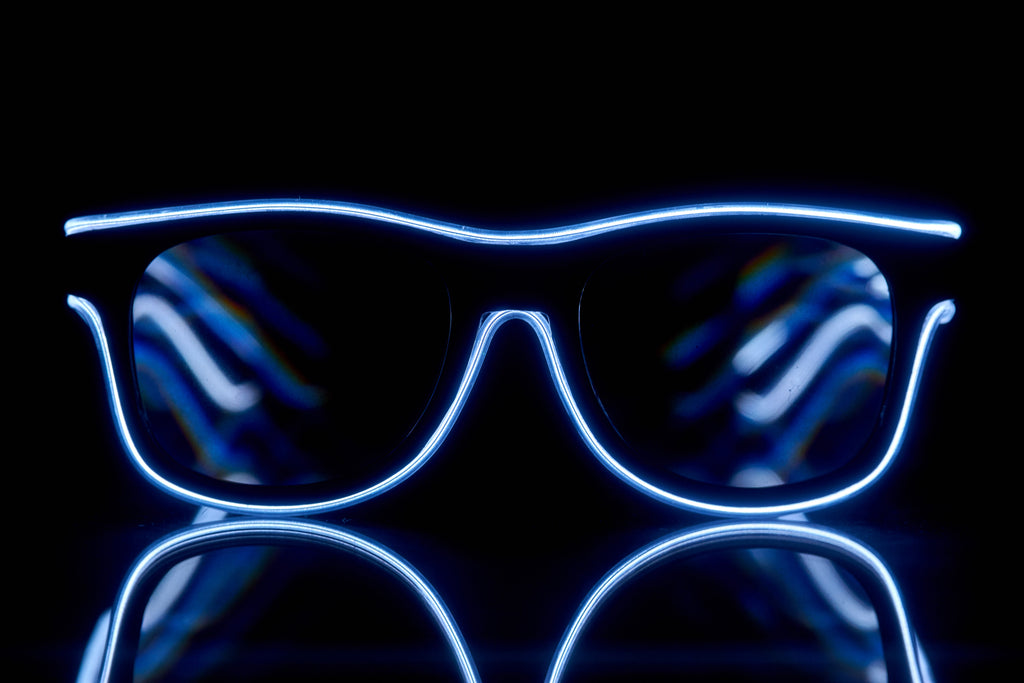 SuperFried Blue Light Up El Wire Diffraction Glasses