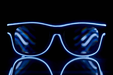 Blue Light Up El Wire Diffraction Glasses